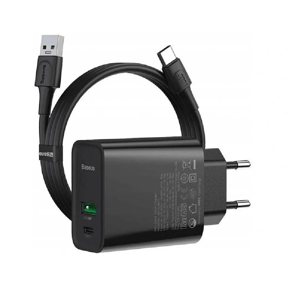 Carregador de Parede Baseus Com Cabo Tipo C PD 30W QC4.0 Dual USB + C EU VOOC