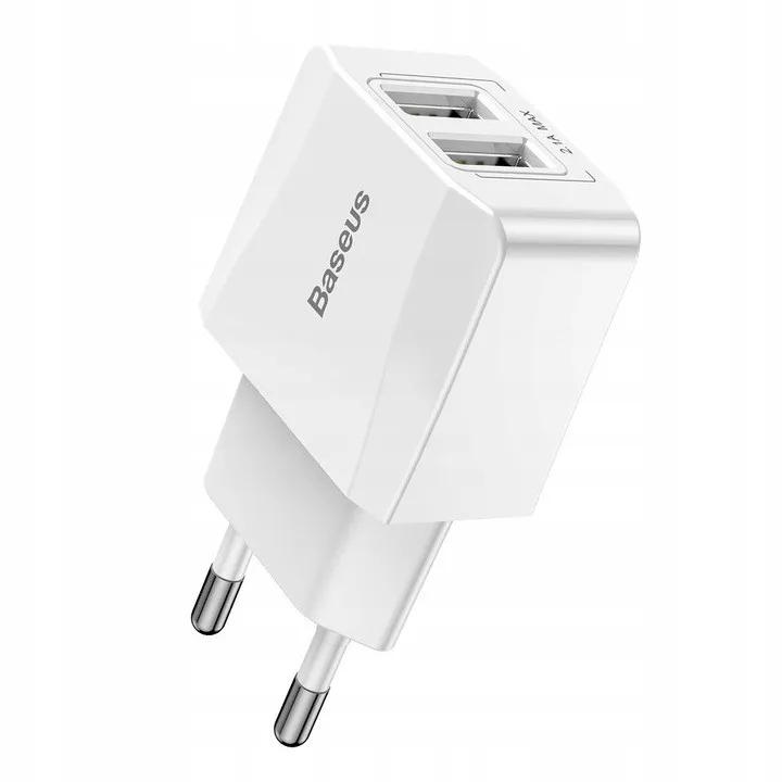 Carregador de Parede Baseus Mini Dual-U 2x USB 2.1A Branco