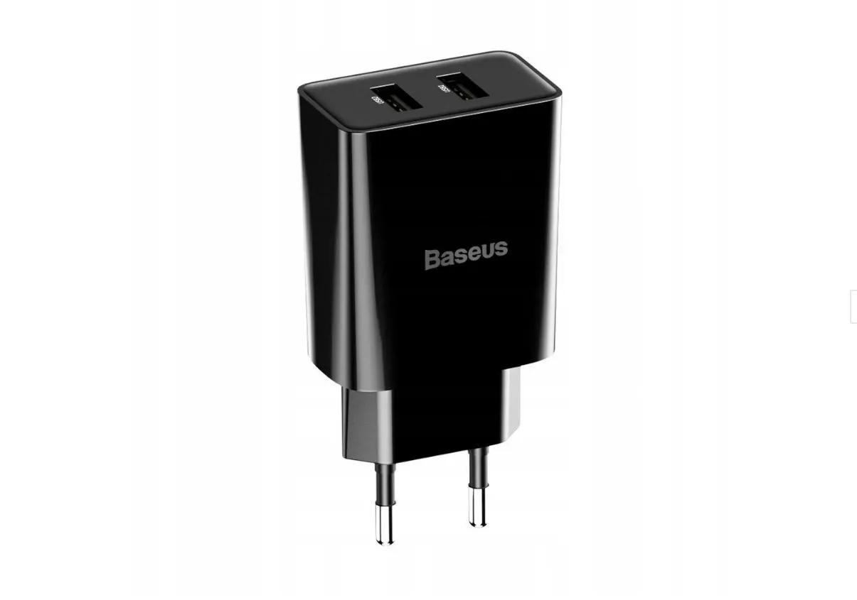 Carregador de Parede Duplo USB Baseus Speed Mini 10.5W (com cabo Lightining 2.4A 1m) Preto