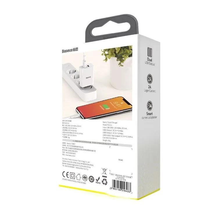 Carregador De Parede Tomada Duplo USB Baseus Speed Mini 2A 10,5 W Branco