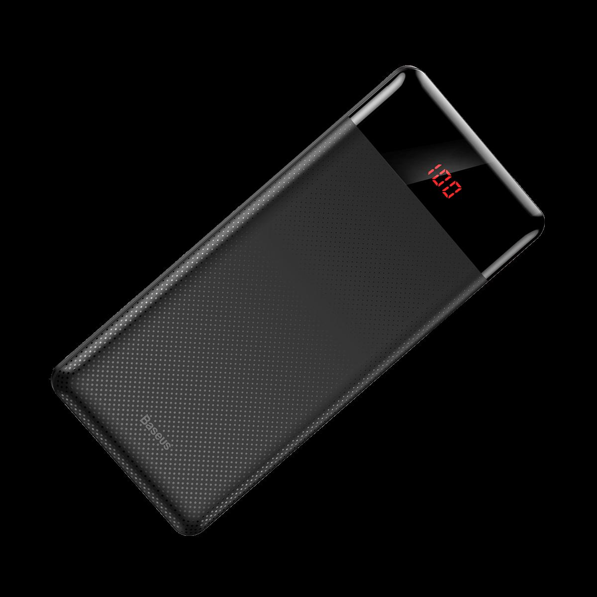 Carregador Portátil Baseus 10000 mAh Fino 2 Saidas USB Preto