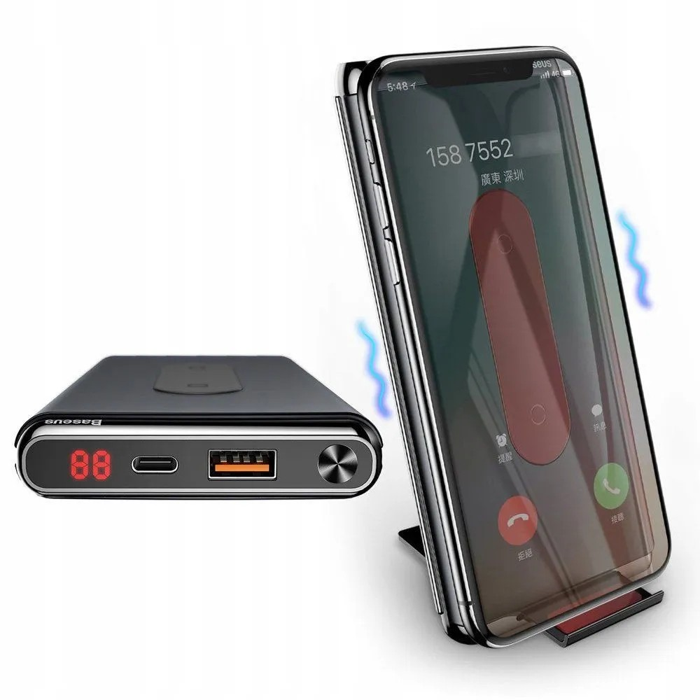 Carregador portátil de indução USB-C PD Baseus Power-Bank QC 10000mAh