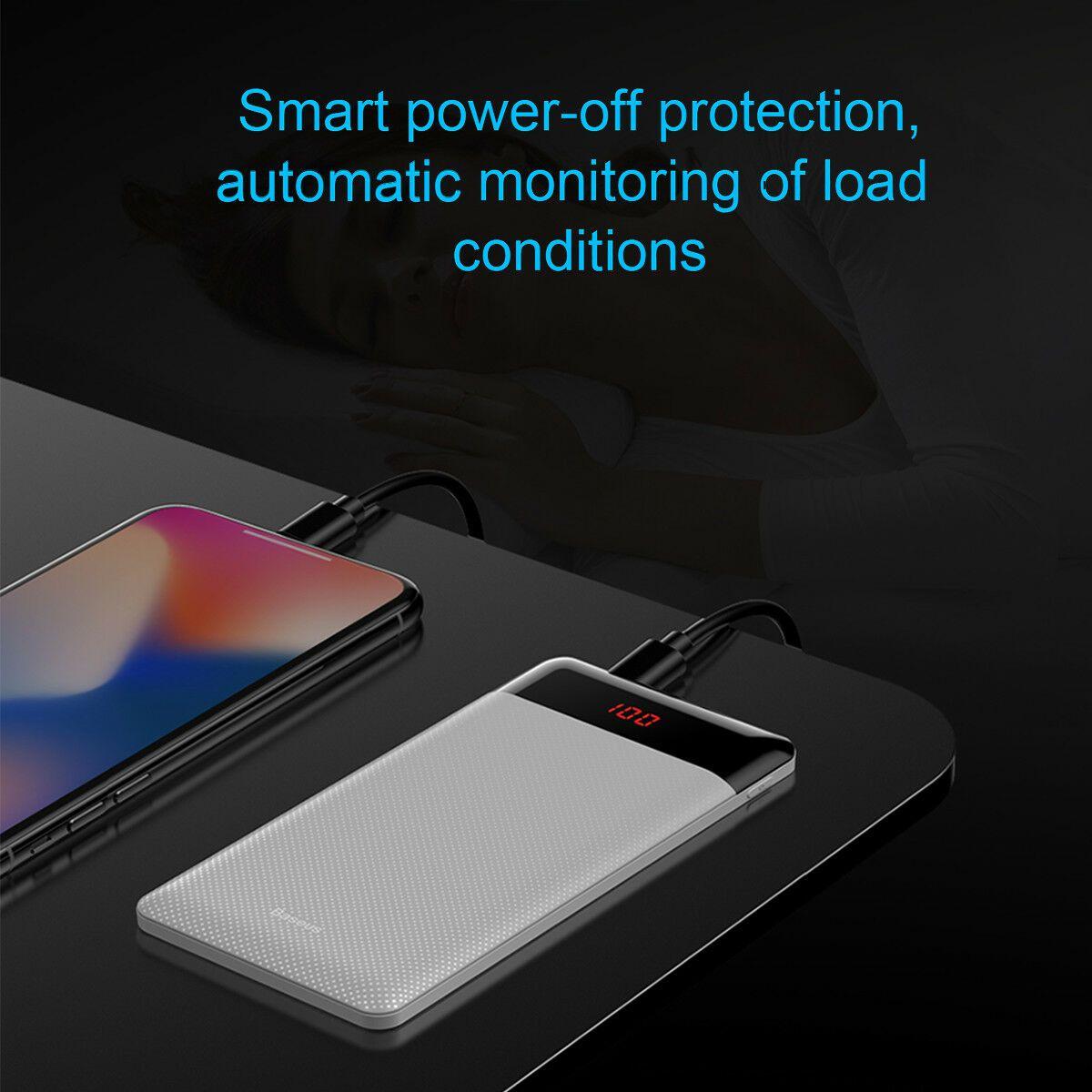 Carregador Portátil Power Bank Baseus 10000mAh Fino Display Digital Branco