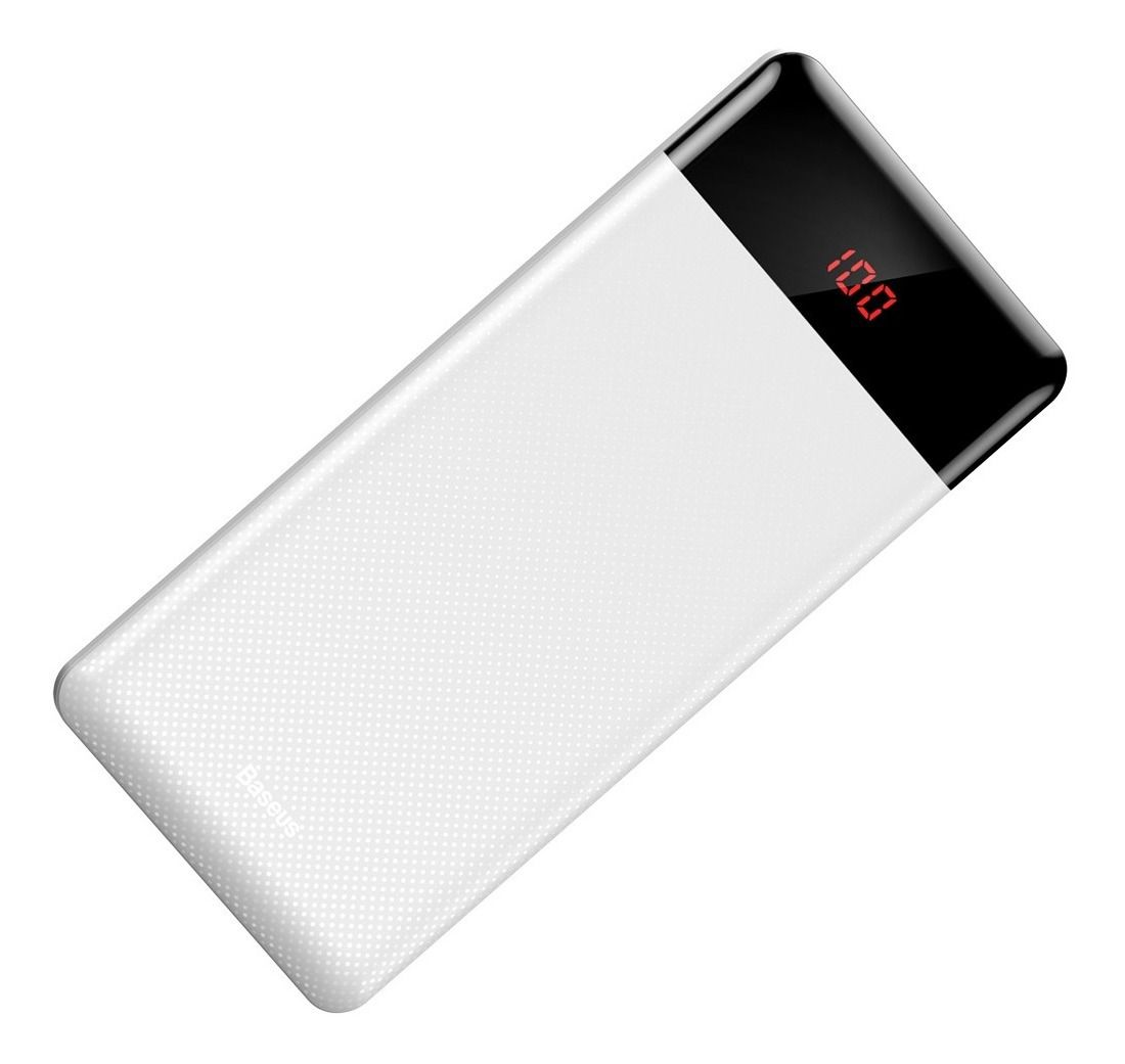 Carregador Portátil Power Bank Baseus 10000mAh Fino Display Digital Branco
