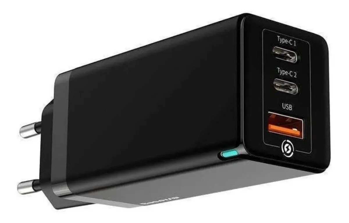 Carregador Rápido de Parede 65W Baseus GaN Dual Type-C + USB