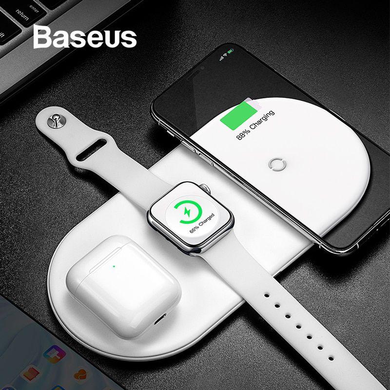 Carregador Sem Fio 3 Em 1 Baseus iPhone Apple Watch AirPods Branco