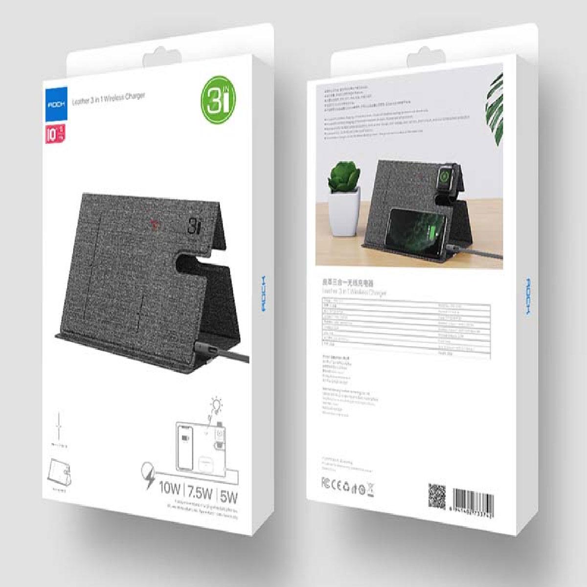 Carregador Sem fio 3 em 1 Dobrável 10W para Iphone/Ipad/Watch/Airpods