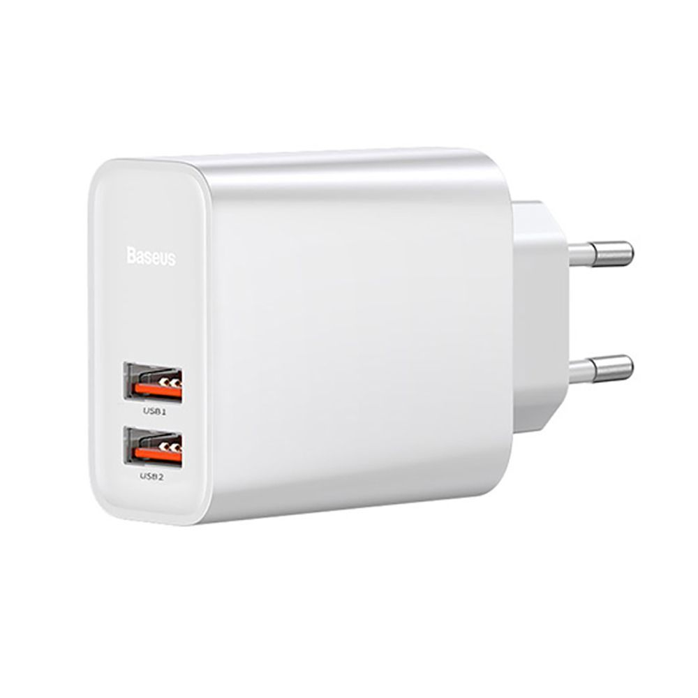 Carregador Turbo Speed Baseus 5A 30W QC 3.0 Dual Usb Branco