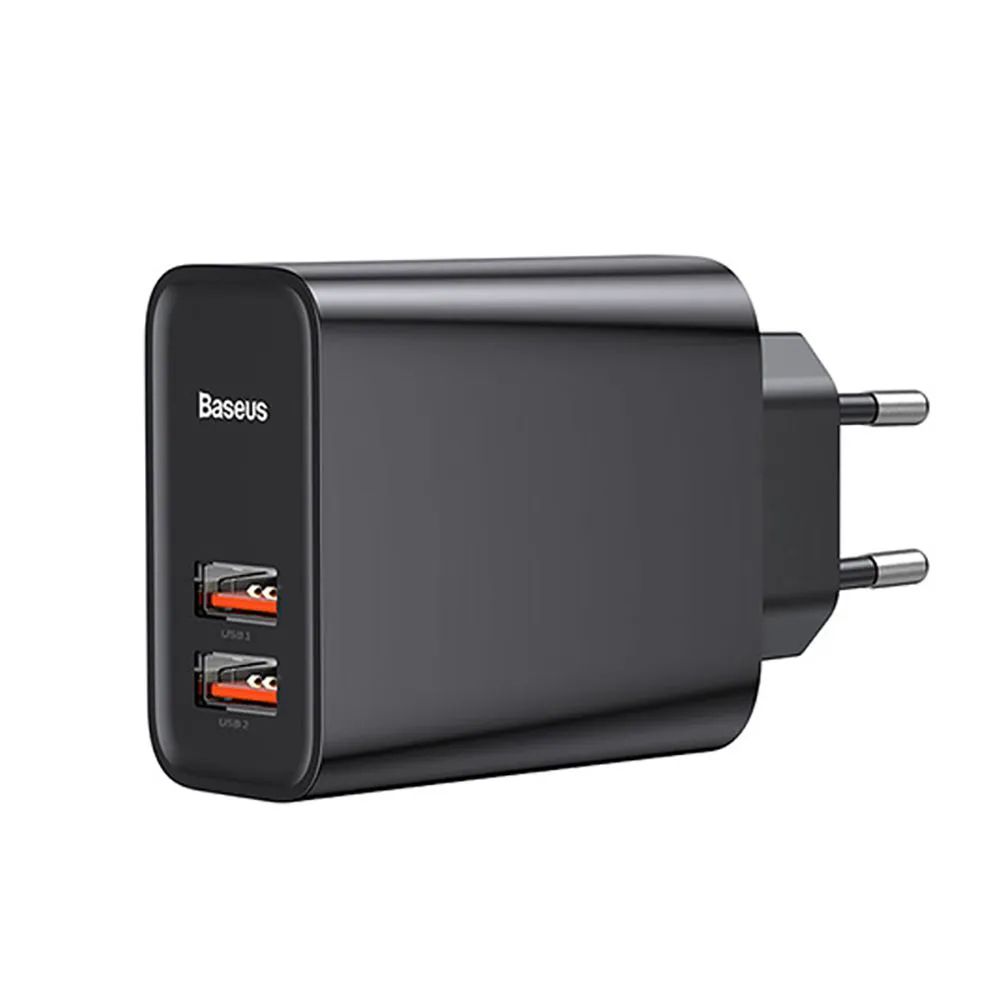 Carregador Ultra Rápido Dual USB QC 3.0 30W Baseus 5A