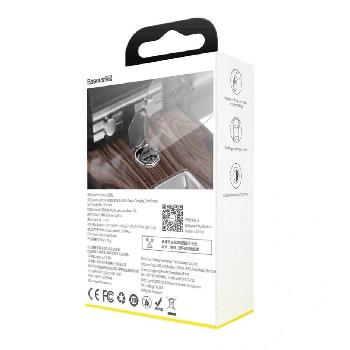 Carregador Veicular Baseus Tiny Star Mini USB QC 3.0 30W