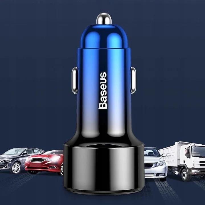 Carregador Veicular Turbo PD Baseus Magic 6a 45w Usb Qc 3.0 Usbc QC4.0 Azul