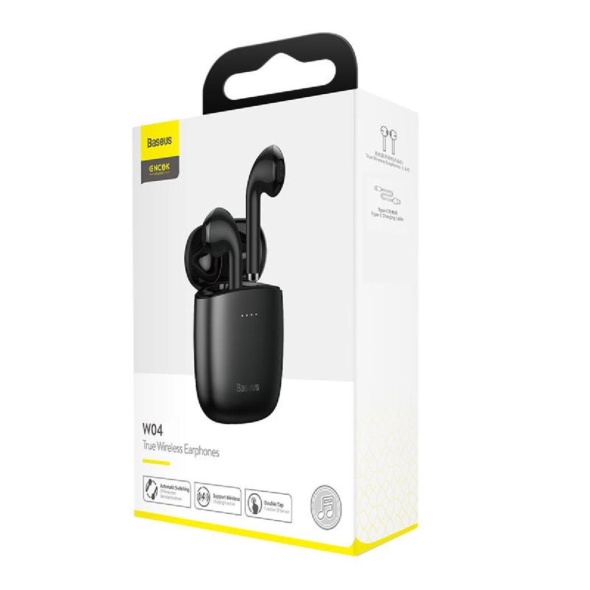 Fone de Ouvido Baseus Encok W04 TWS Bluetooth 5.0 Touch - Preto