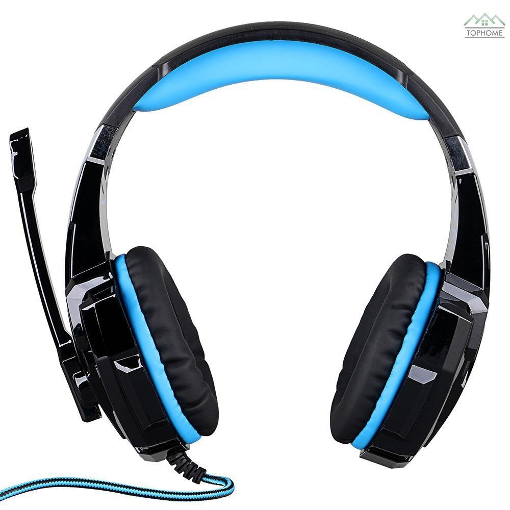 Fone de Ouvido Gamer Headset Kotion G9000 Com Led/Microfone Preto e Azul