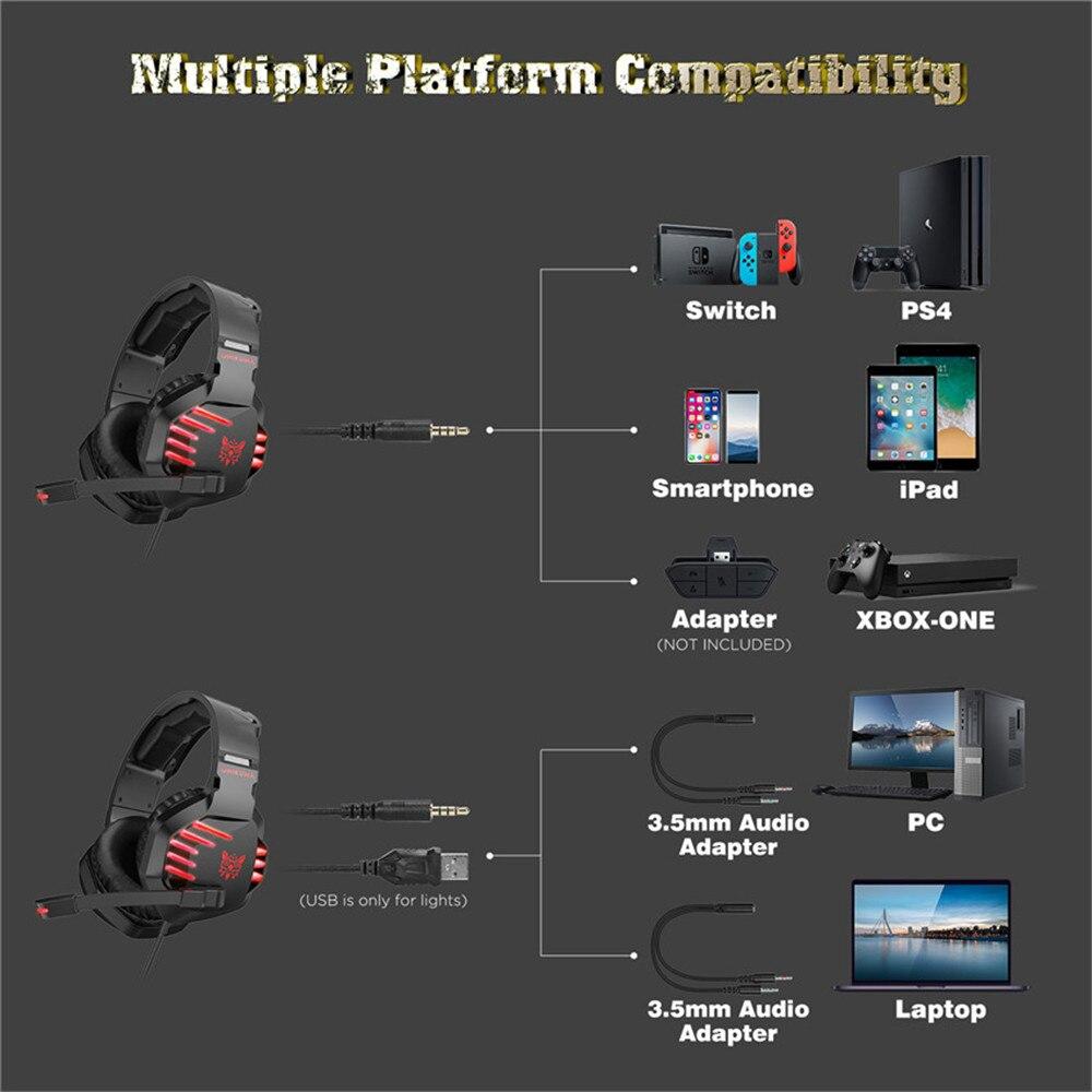 Fone de Ouvido Gamer Headset Onikuma K17 PS4/Xboxone/PC Com Led Vermelho