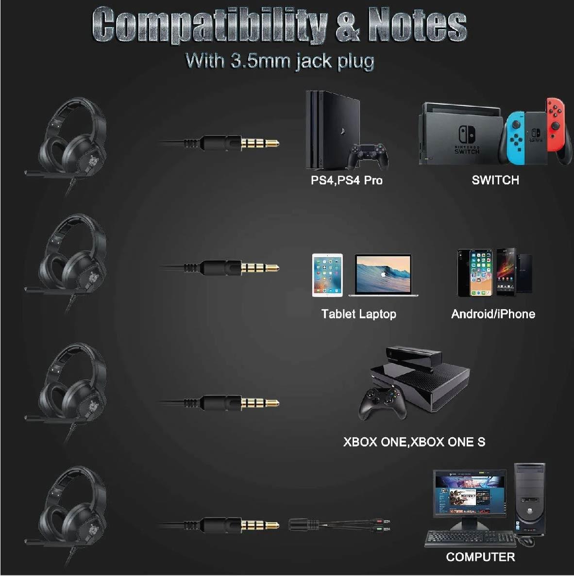 Fone de Ouvido Gamer Headset Onikuma K19 PS4/Xboxone/PC Com Led