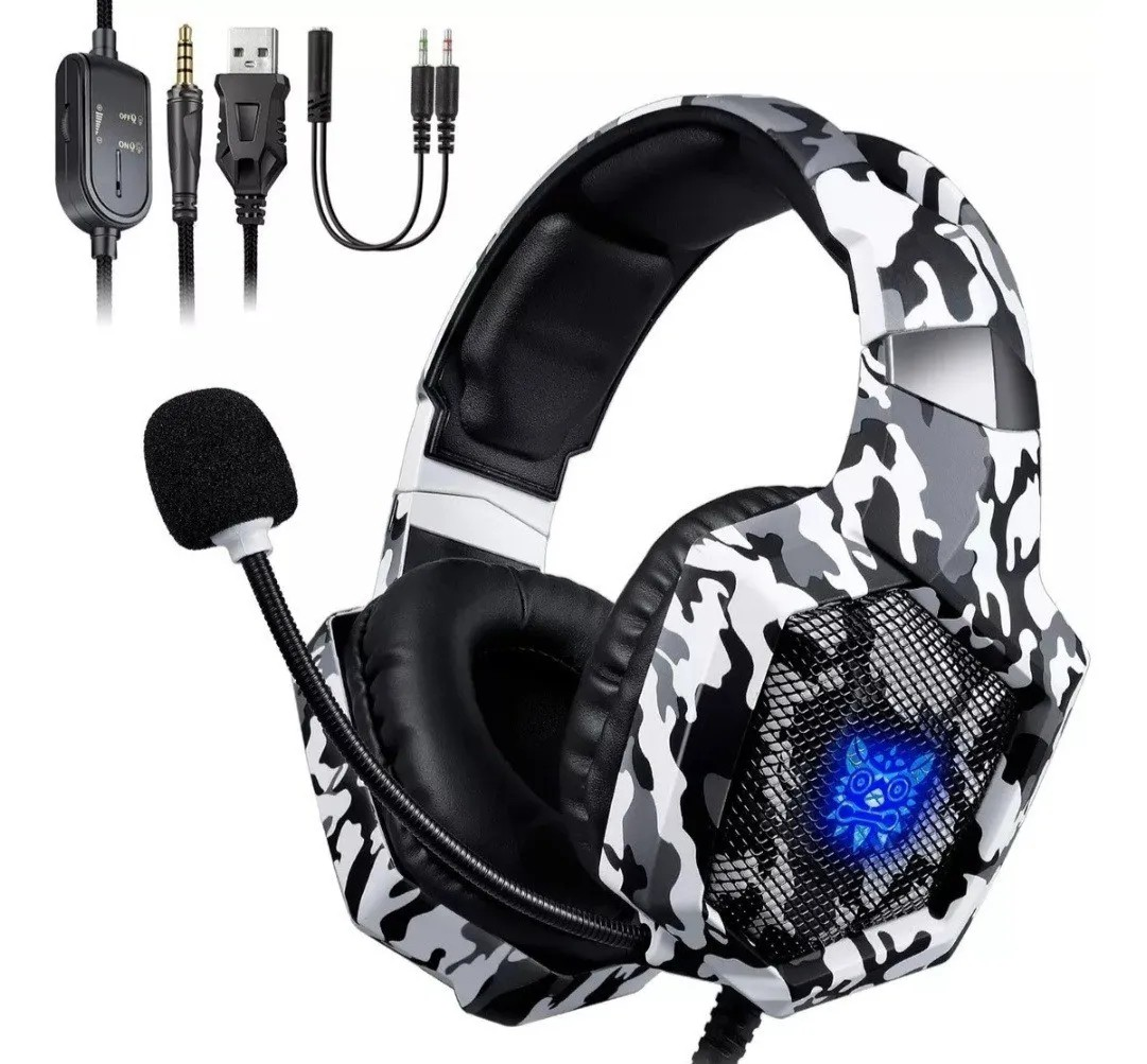 Fone de Ouvido Gamer Headset Onikuma K8 Camuflado Branco Rgb