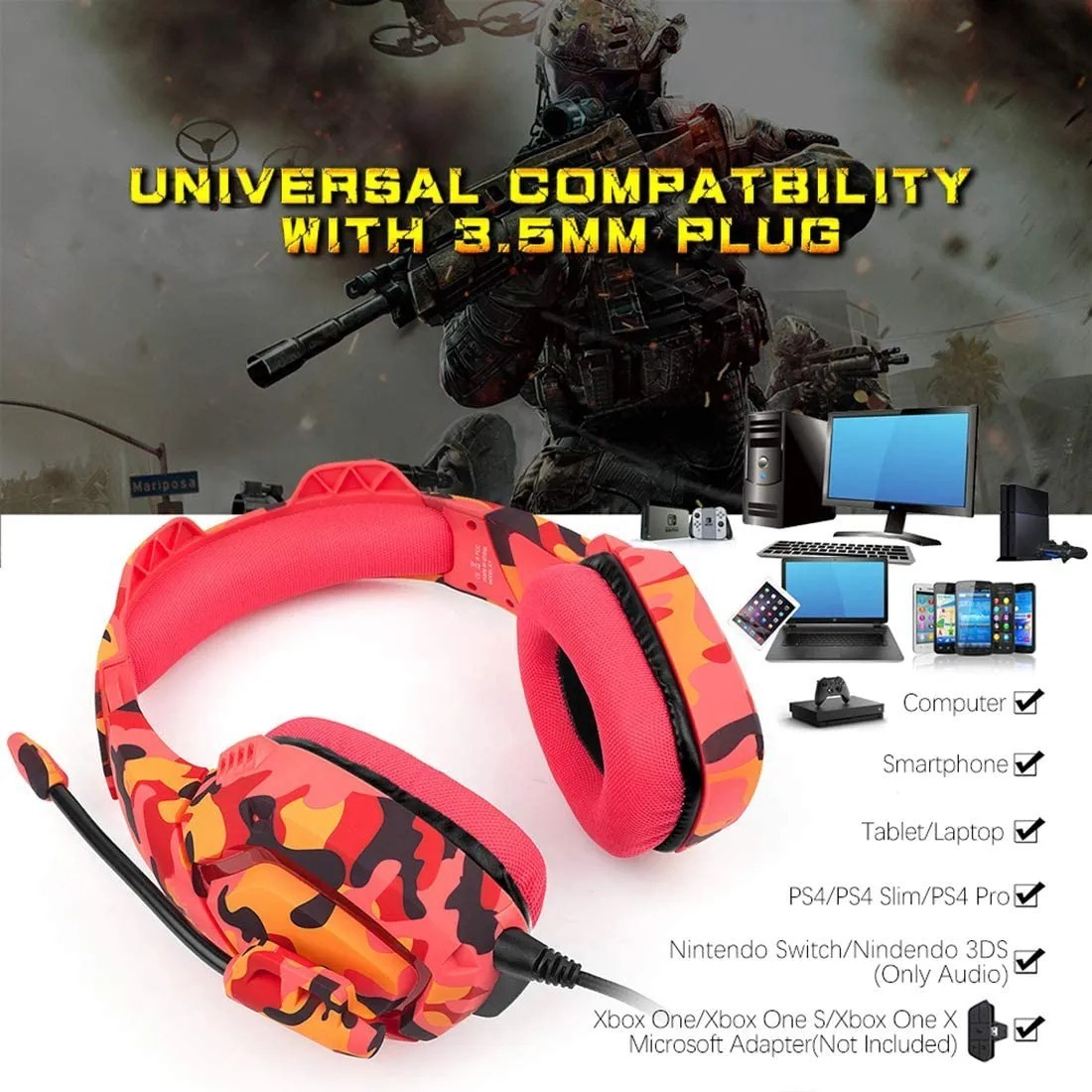 Fone De Ouvido Headset Gamer Onikuma K1-b Camuflado Vermelho Celular Ps4 Xbox Pc