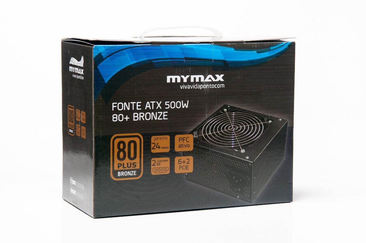 Fonte ATX 500W 80+ Plus Bronze Pfc Ativo 2 anos de Garantia