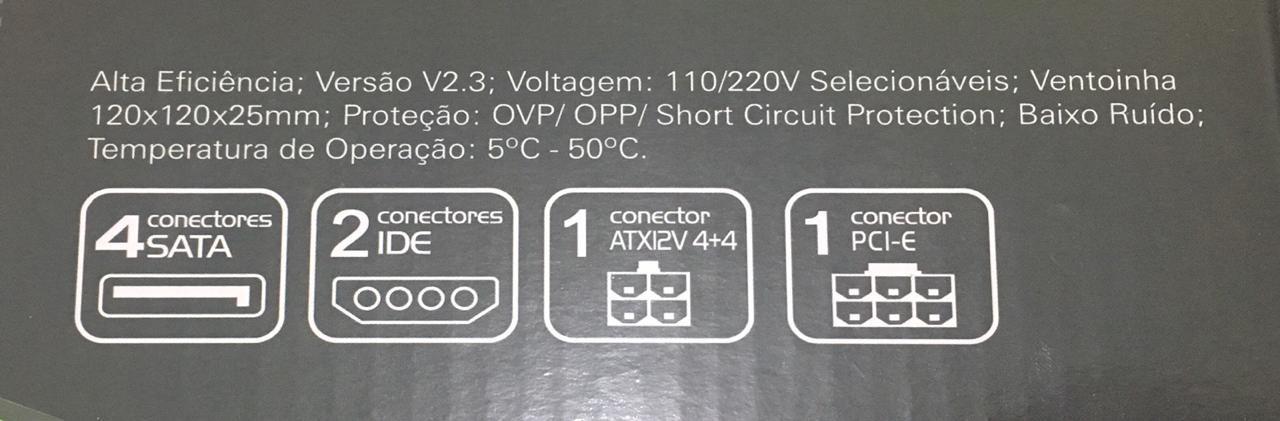 Fonte Atx 600w Real One Power 4+4 Pino 20/24 Pinos Bivolt