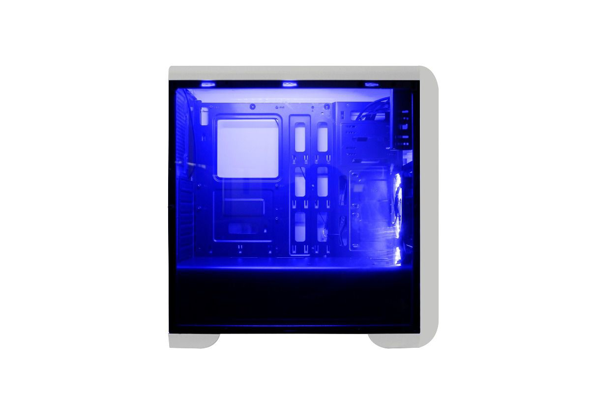 Gabinete Gamer Tornado Branco Fita Led + 2 Fan Leds Azul