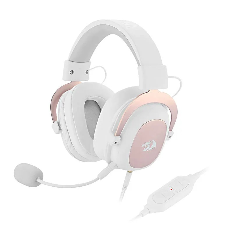 Headset Gamer Redragon Zeus 2 USB Surround 7.1 H510-1W Branco/Pink