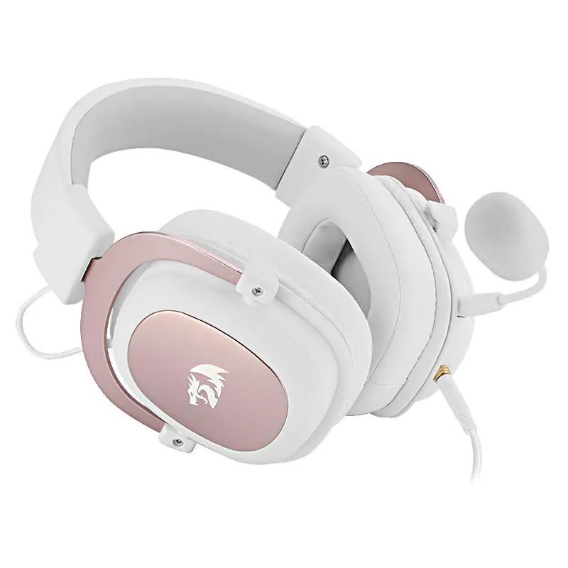 Headset Gamer Redragon Zeus 2 USB Surround 7.1 H510-1W Branco/Pink
