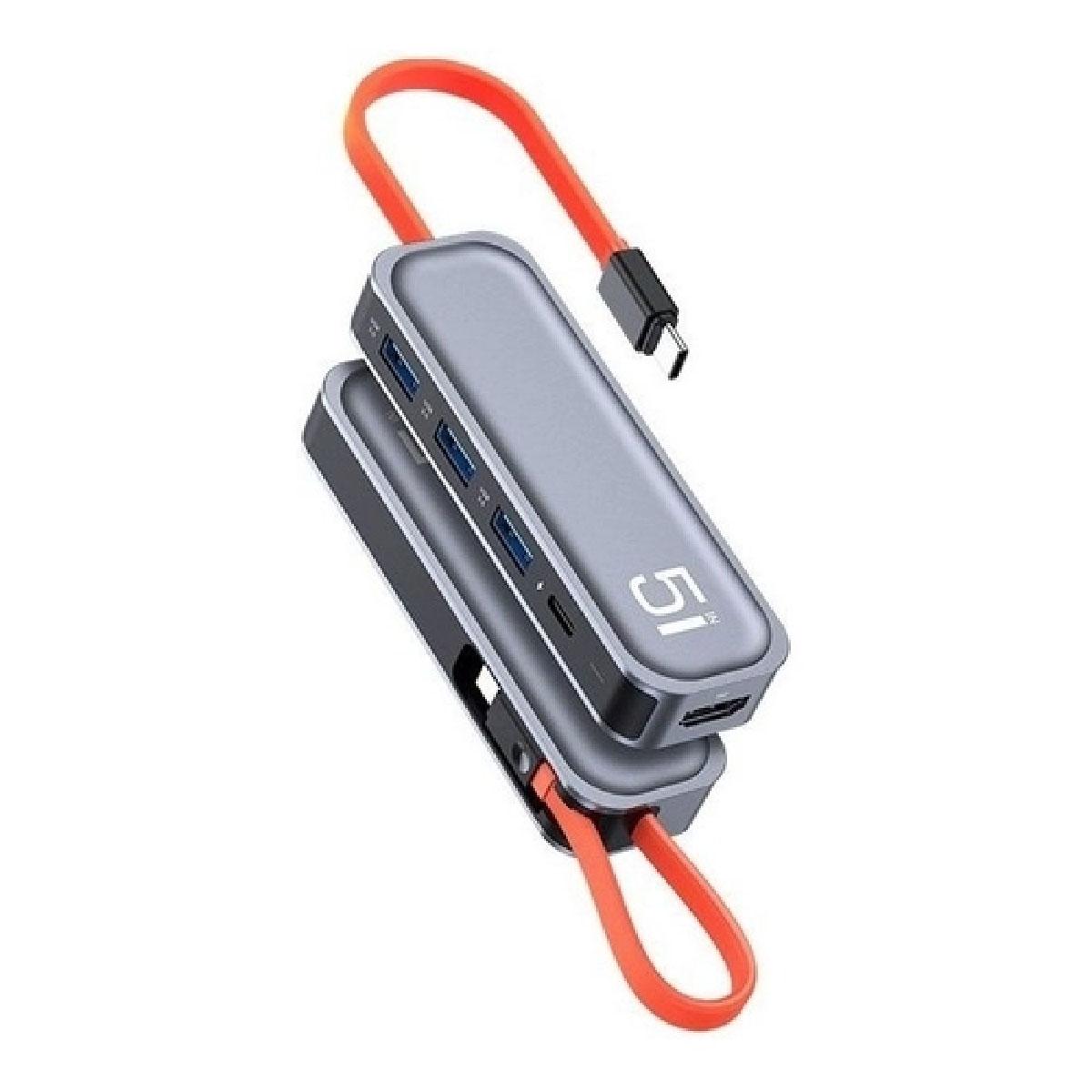 Hub 5 em 1 USB Tipo-C p/ 3x USB 3.0 + PD + HDMI da ROCK Carregamento Rápido