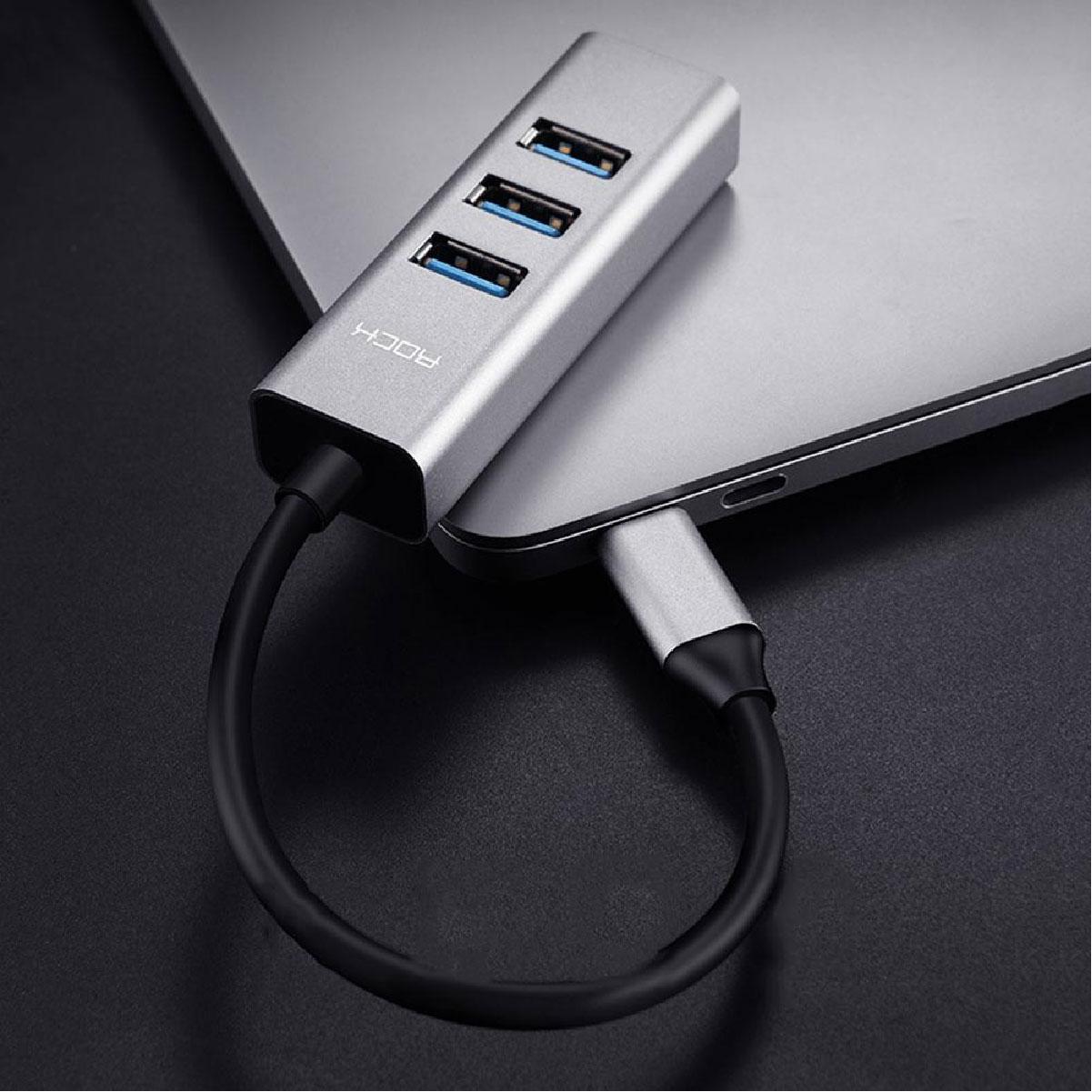 Hub Adaptador Conversor Tipo-C para 4x USB 3.0 Rock