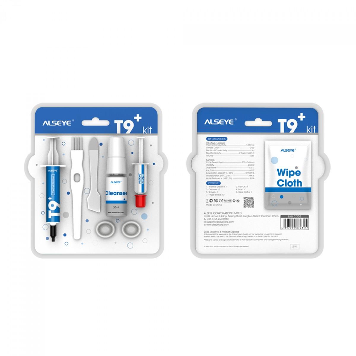 Kit Pasta Térmica de Alta Densidade Alseye T9+ com aplicadores e limpadores
