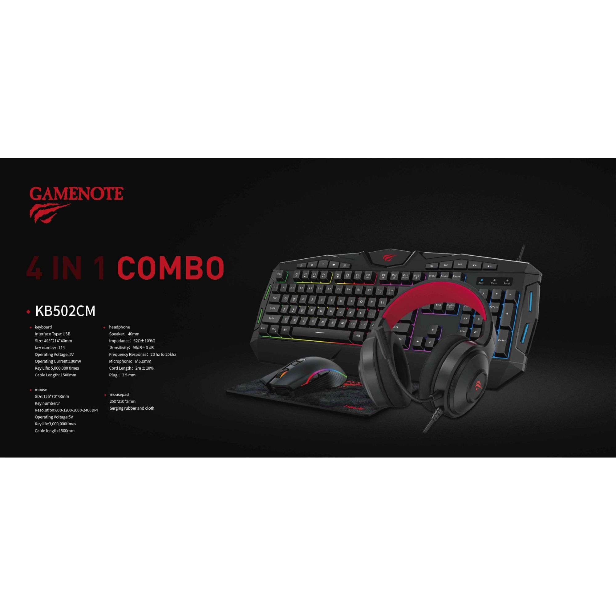 Kit Gamer Teclado Mouse Headset e Mousepad Havit