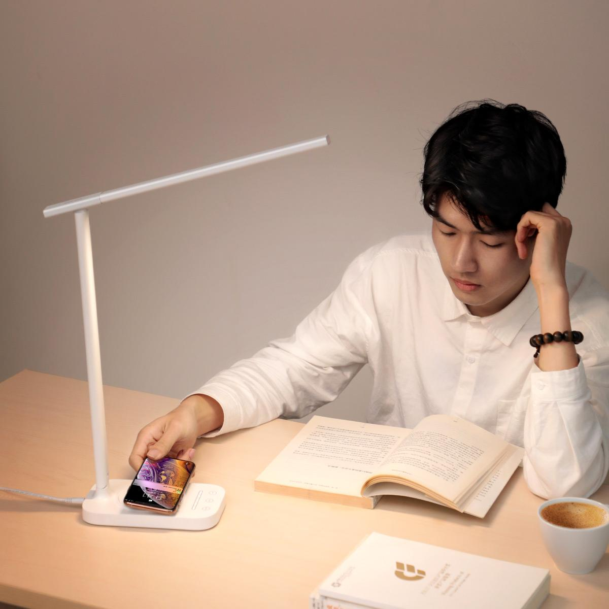 Luminária De Mesa Touch C/ Carregador Sem Fio QI Turbo Baseus Iphone Samsung Xiaomi Huawei LG Motorola