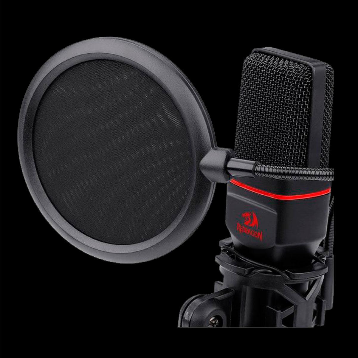 Microfone Gamer Streamer Redragon Seyfert com Condensador e Tripé 3.5mm Preto
