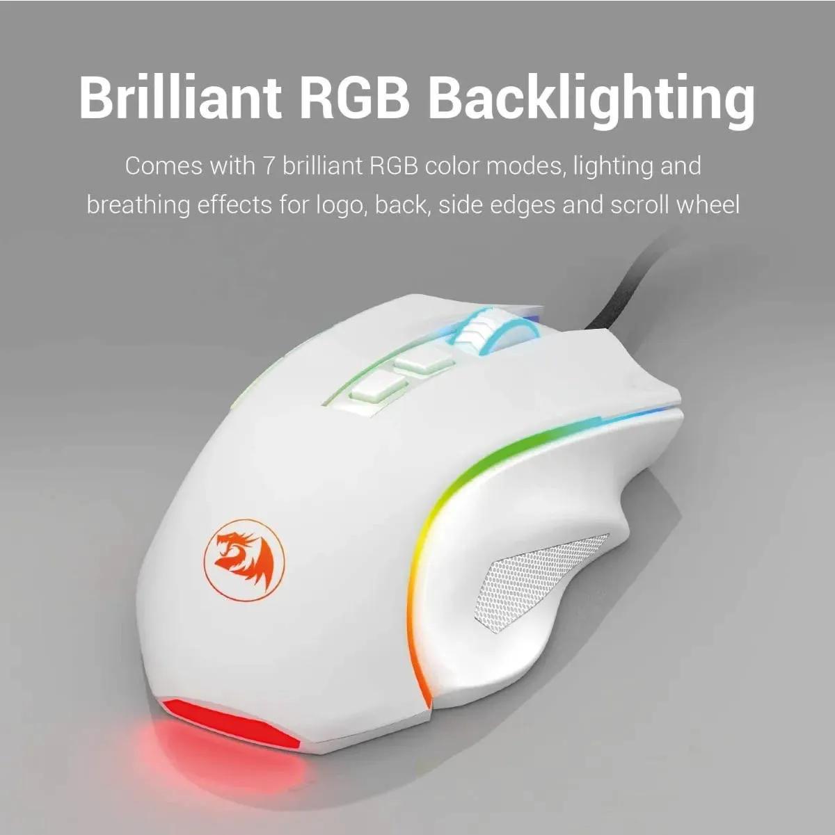 Mouse Gamer 7200dpi Rgb Redragon Griffin Rgb M607w Branco