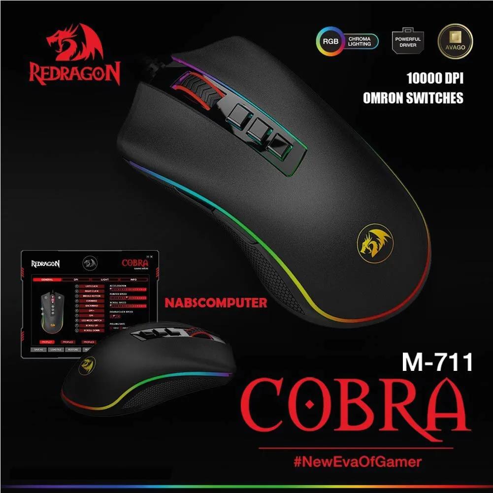 Mouse Gamer Cobra Redragon M711 Chroma PIXART PMW3325 Preto
