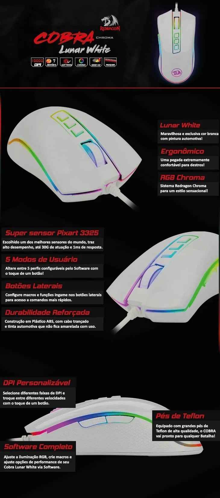 Mouse Gamer Cobra Redragon M711w Chroma Lunar White PIXART PMW3325