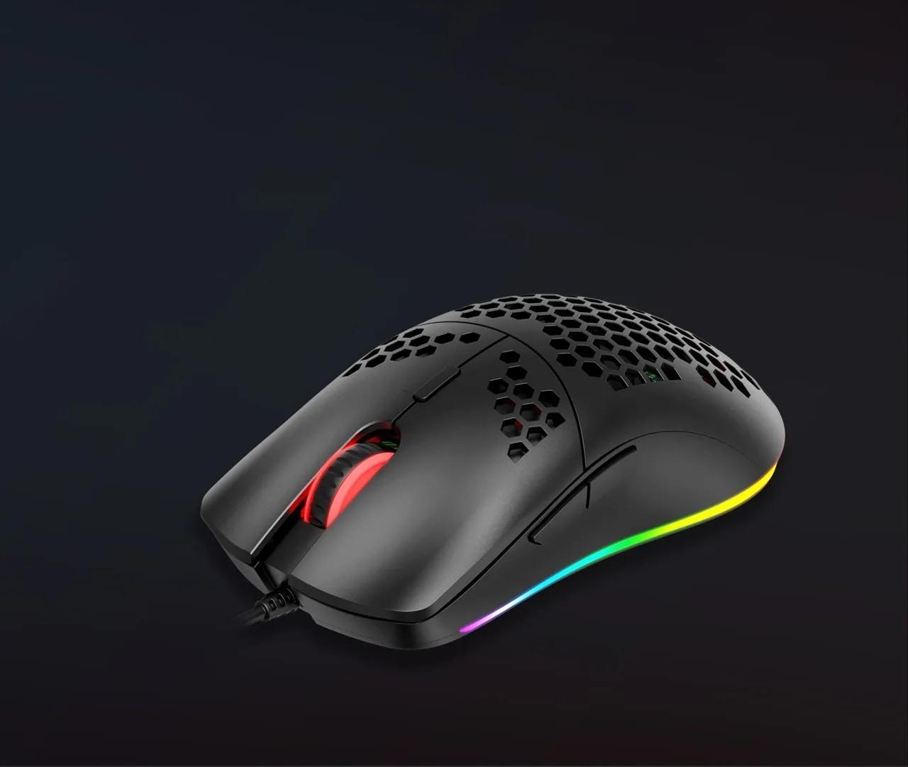 Mouse Gamer Havit HV-MS1023 RGB 6 Botões 6400DPI Favo de Mel