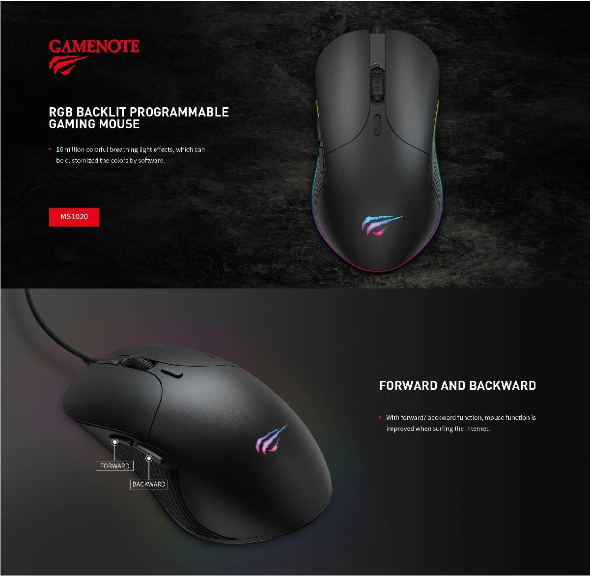 Mouse Gamer Havit MS-1020 RGB Backlit 4200DPI