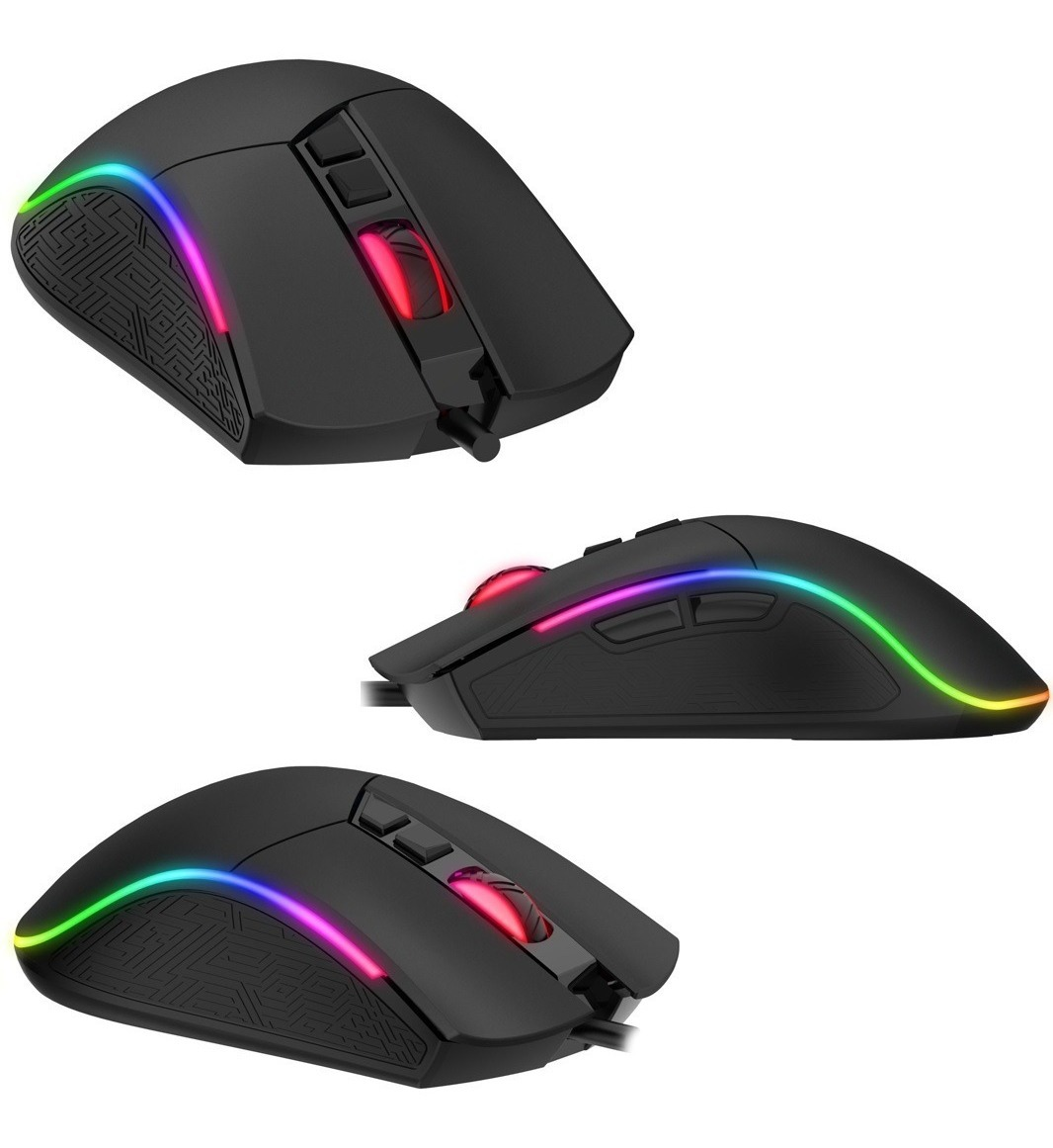 Mouse Gamer Havit Rgb MS1001 Palm Grip 4800 Dpi 7 botões