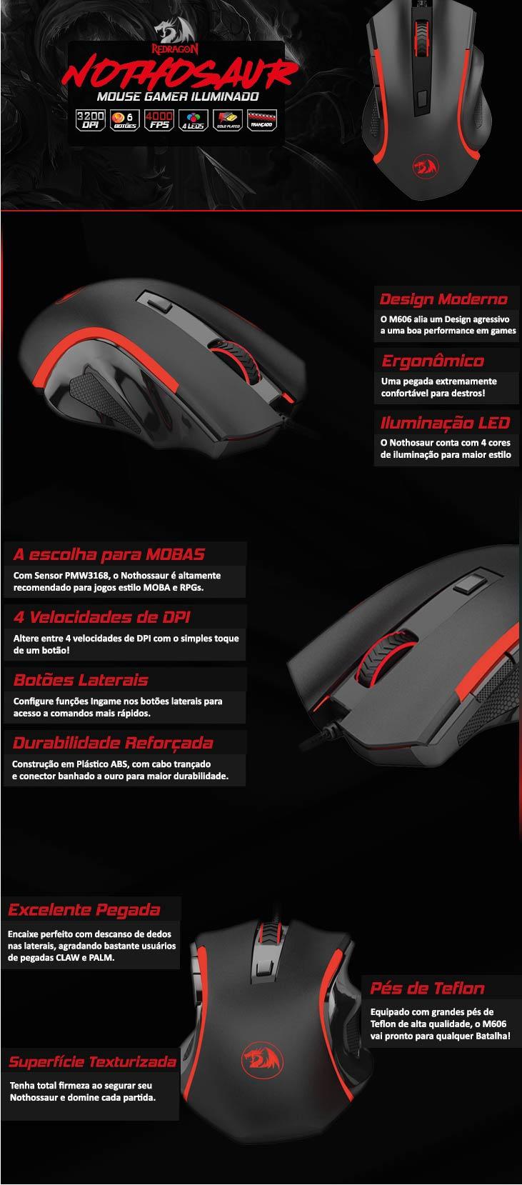 Mouse Gamer Redragon Nothosaur M606 Pixart 3200 Dpi 6 Botões