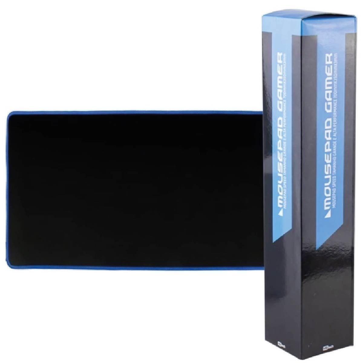 Mousepad Gamer Extra Grande Mouse Teclado 70x35 Cm Speed Reforçado Borda Azul