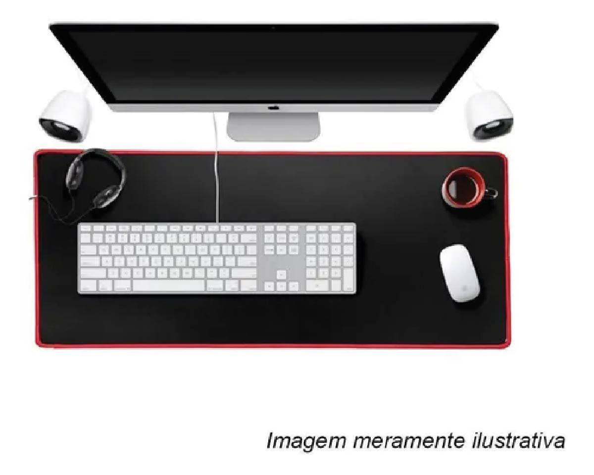 Mousepad Gamer Extra Grande Mouse Teclado 70x35 Cm Speed Reforçado Borda Vermelha