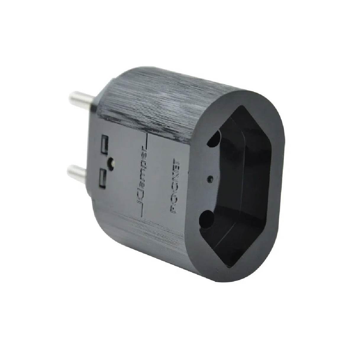 Protetor Clamper Pocket Dps 2 Pinos 10a Proteção contra Surto e Raios Preto