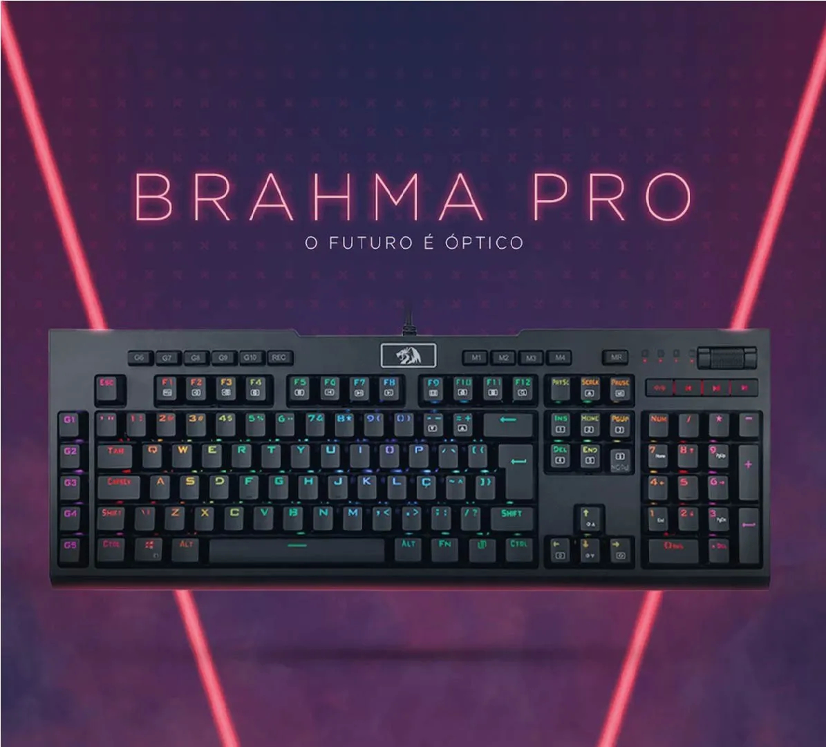 Teclado Brahma Pro Redragon RGB Switch Óptico Azul