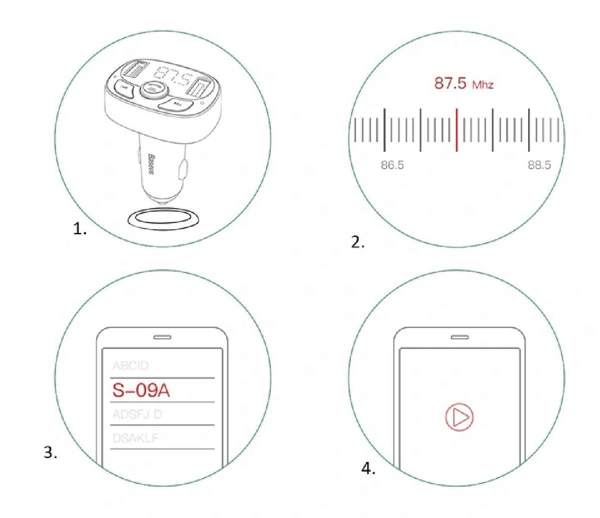 Transmissor FM Baseus Bluetooth Pen Drive Cartão SD e Carregador