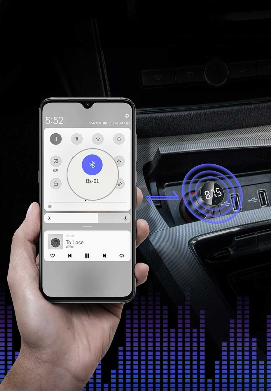 Transmissor FM Bluetooth 5.0 Carregador Turbo QC3.0 Baseus Cinza