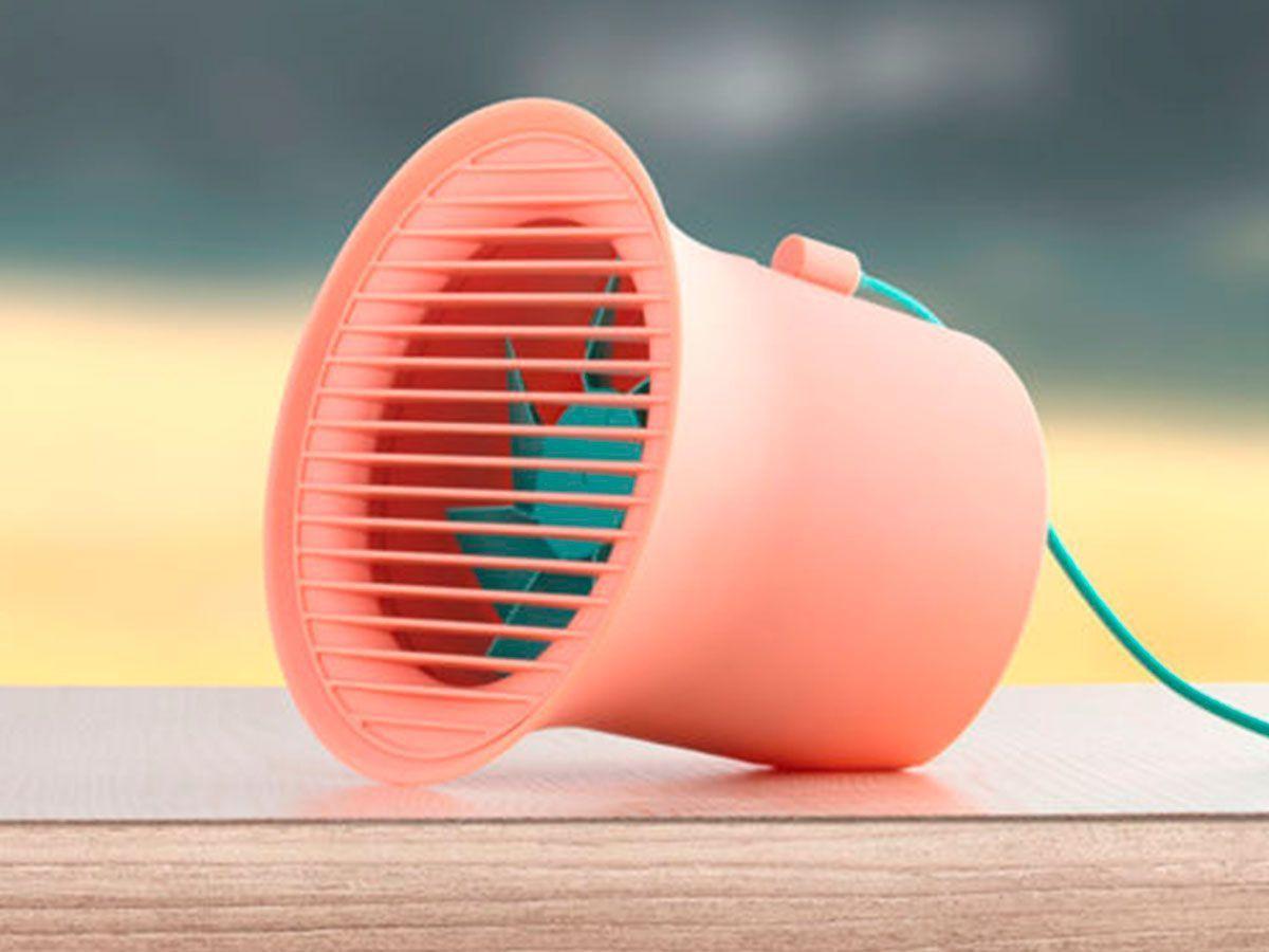 Mini Ventilador De Mesa Usb Portátil Silencioso 15cm Original Baseus Rosa