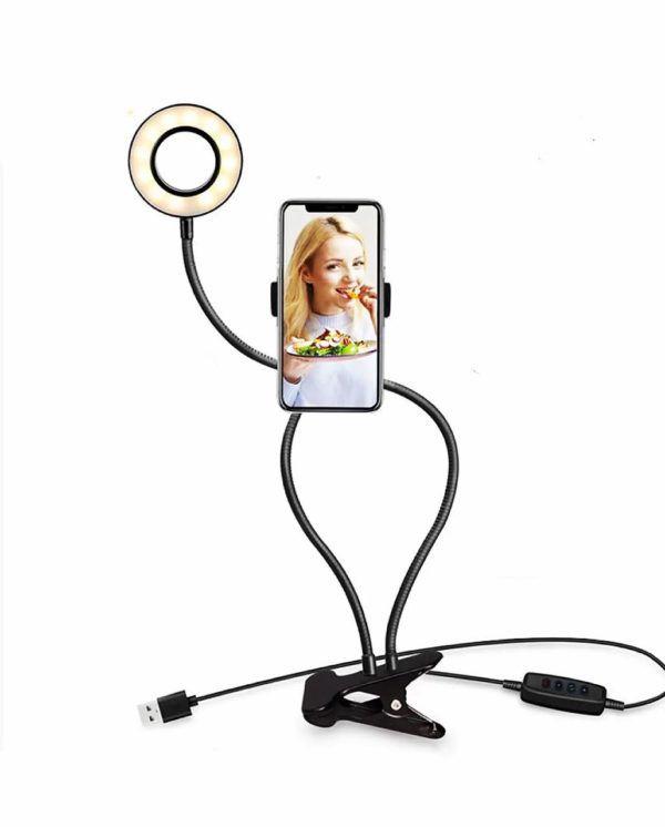 Iluminador Ring Light Suporte Articulado De Mesa Live Stream Para Celular Smartphone Com Controle