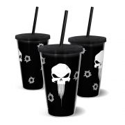 Copo Canudo Parede Dupla 500ml Punisher