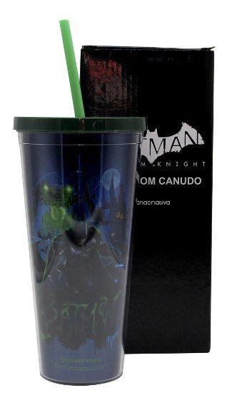 Copo Canudo c/ Efeito Metálico BATMAN