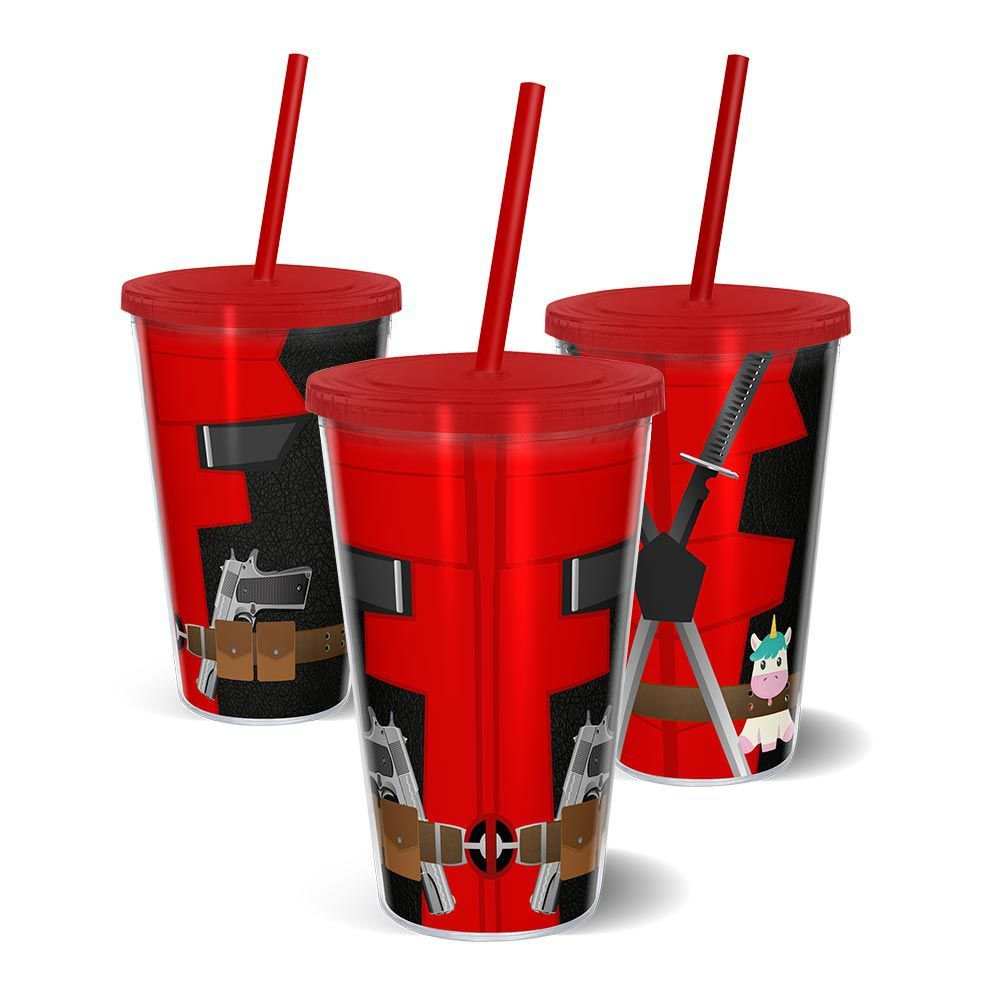 Copo Canudo Parede Dupla 500ml Deadpool